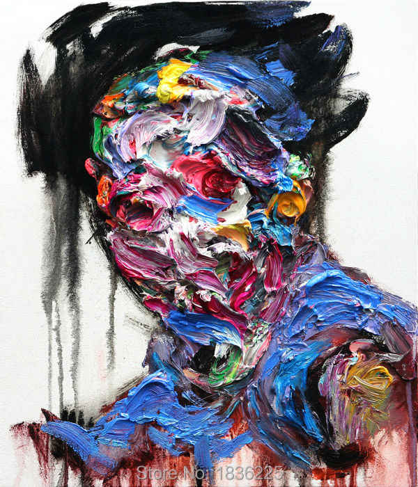 Palette Knife Painting Colorful Face Oil Painting People