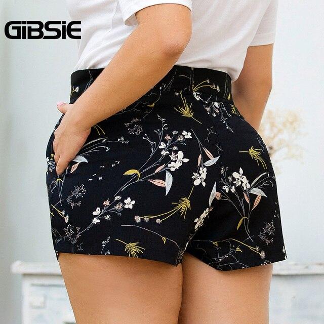 GIBSIE Plus Size Women Print Casual Shorts Zip Back High Waist Shorts 2019 Ladies Big Size Pocket Summer Shorts for Women 2