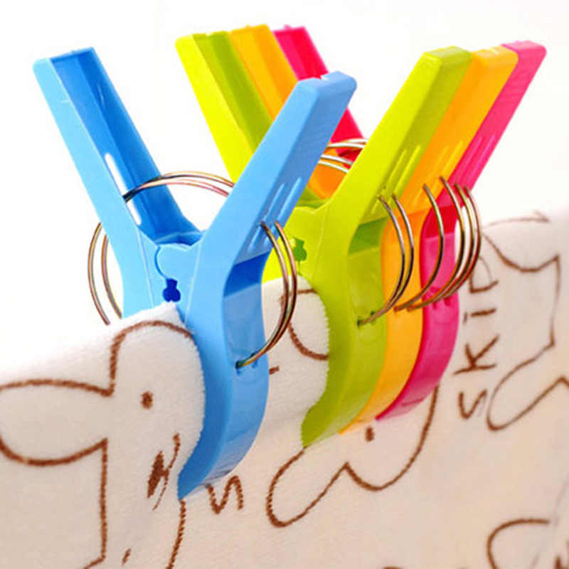 4Pcs New Plastic Color Clothes Pegs Beach Towel Clamp Laundry Clothes Pins Large Size Drying Racks Retaining Clip Organization