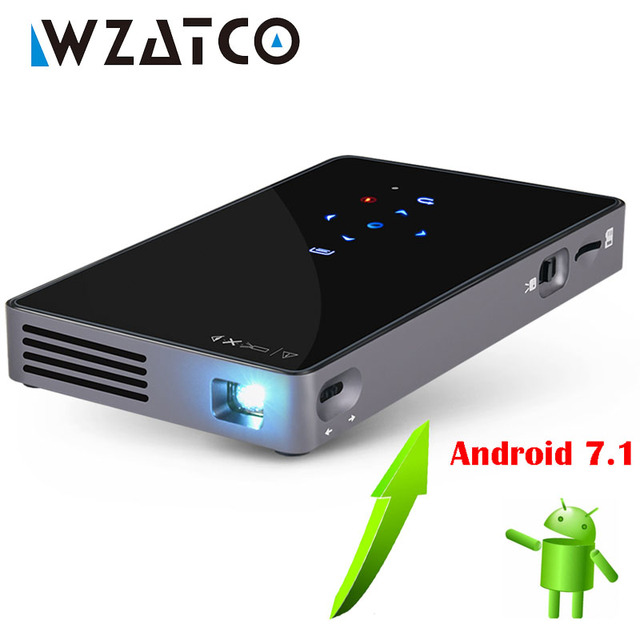 Big Sale WZATCO CT50 Android 7.1 OS WIFI Bluetooth Pico Mini Micro lAsEr DLP Projector Portable Proyector with Battery for Home Theater