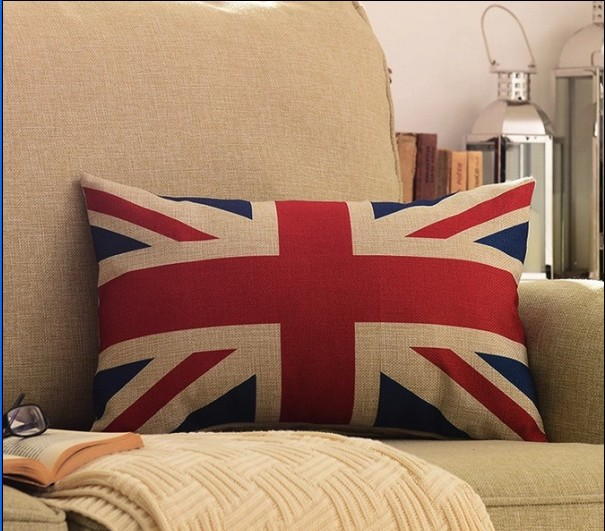 Linen Cotton Ikea Style Union Jack British flag Cushion Covers