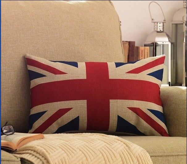 Linen Cotton Ikea Style Union Jack British flag Cushion Covers