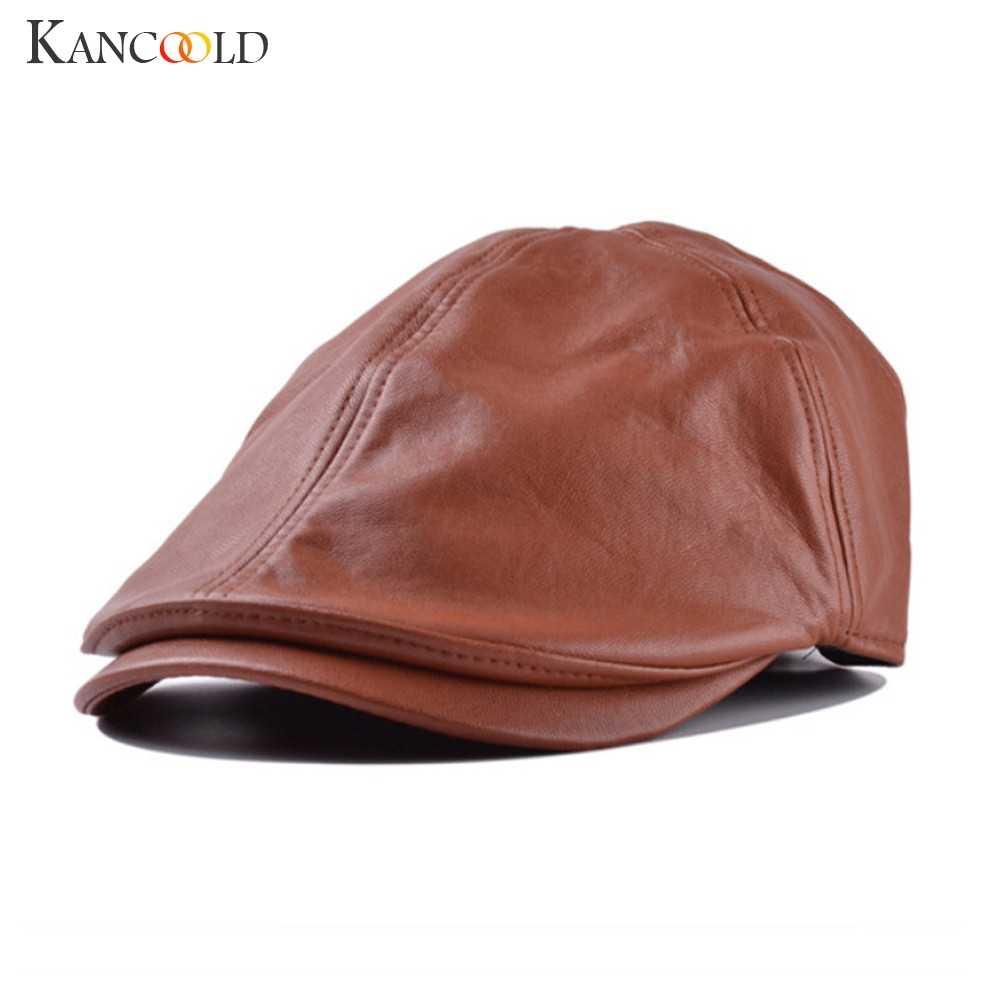 KANCOOLD 帽子メンズ女性高品質のファッションヴィンテージ革のベレー帽ピークドハットキャスケット日焼け帽子男性 2018NOV15