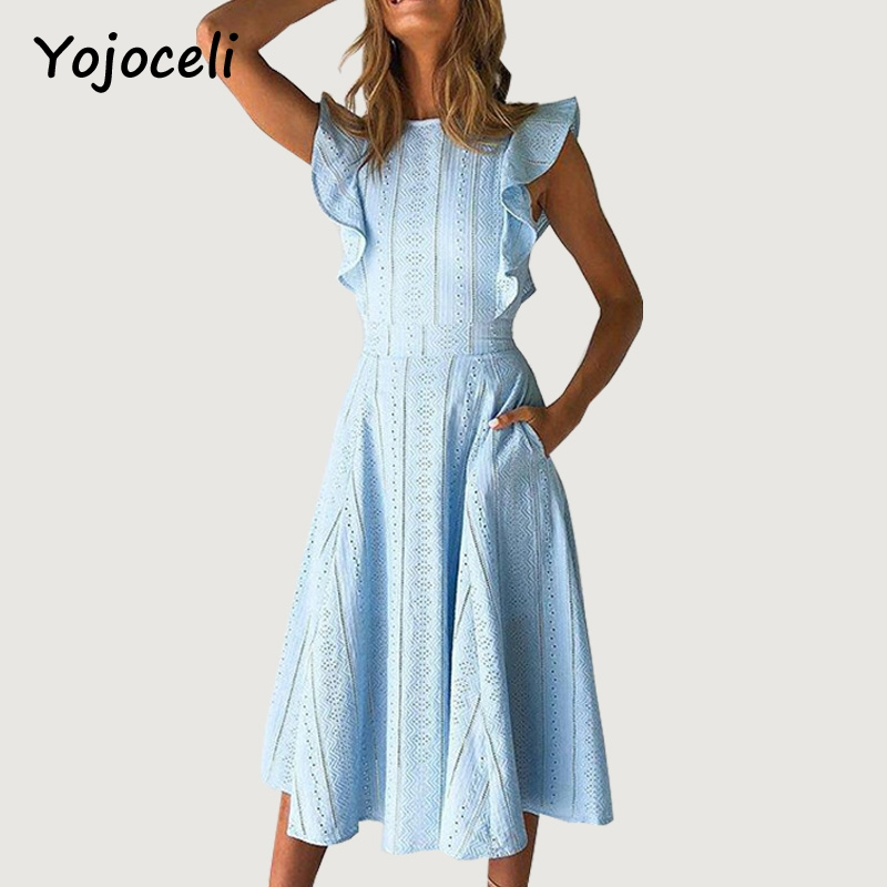 Yojoceli elegant lace embroidery dress women 2018 summer party club ruffled midi dress crochet lace chic dress vestidos