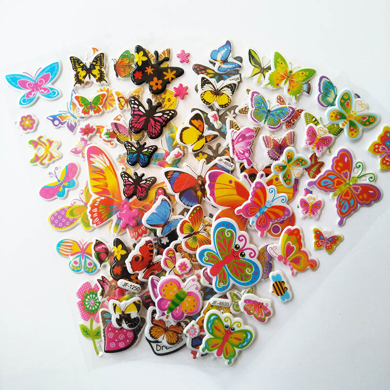 6pcs/lot Butterfly Stickers Kids Toys Cartoon 3D Sticker Children Girls Boys PVC Stickers Bubble Stickers DIY Funny Decoration