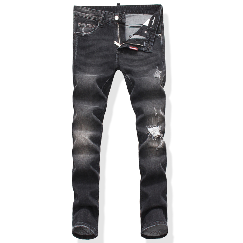 ФОТО  2017 NALANXINDE dsq jeans fashion Men Pencil Pants High Waist Jeans Sexy Slim Skinny Pants Trousers Fit Jeans frayed new Jeans