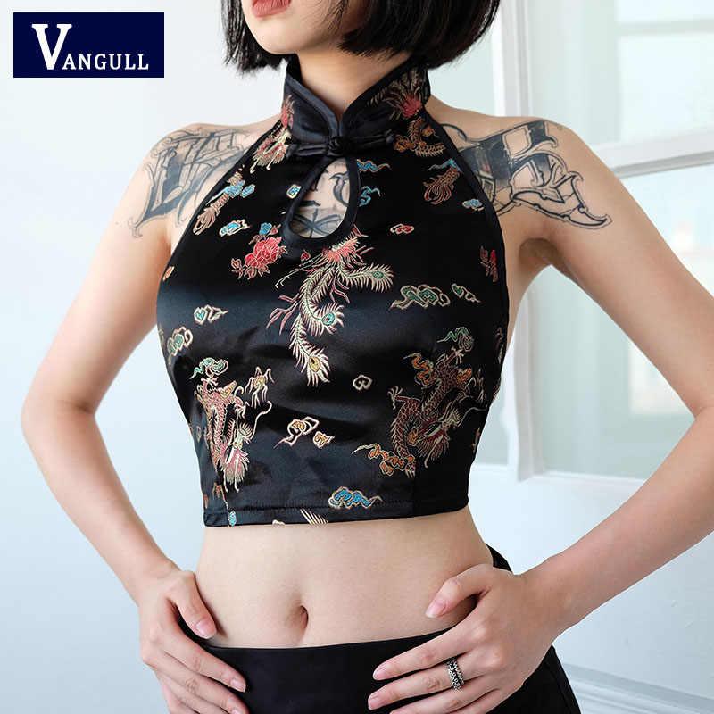 Vangull estilo chinês cabresto topos feminino bordado dragão phoenix sexy colheita camis 2019 novo verão amarrar sem costas bustier camisa