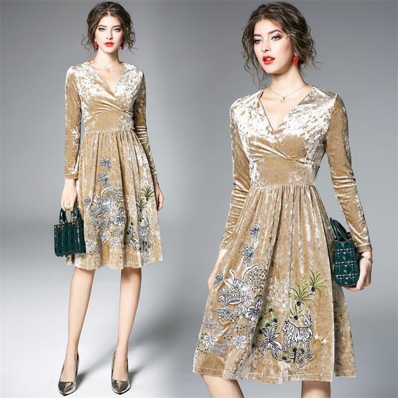 Primavera Vestido Otoño Animal Elegante Oro 3xl Vestidos Mujeres De Sexy Caqui Terciopelo Casuales Floral 2019 Bordado Gran Tamaño M XqdXrw