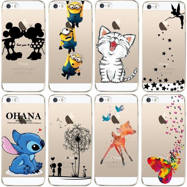 Voor iPhone 5 5 S SE Case Leuke Cartoon Zachte TPU Siliconen Case voor Apple iPhone 5 S Telefoon Achterkant Transparant Fundas Couqe