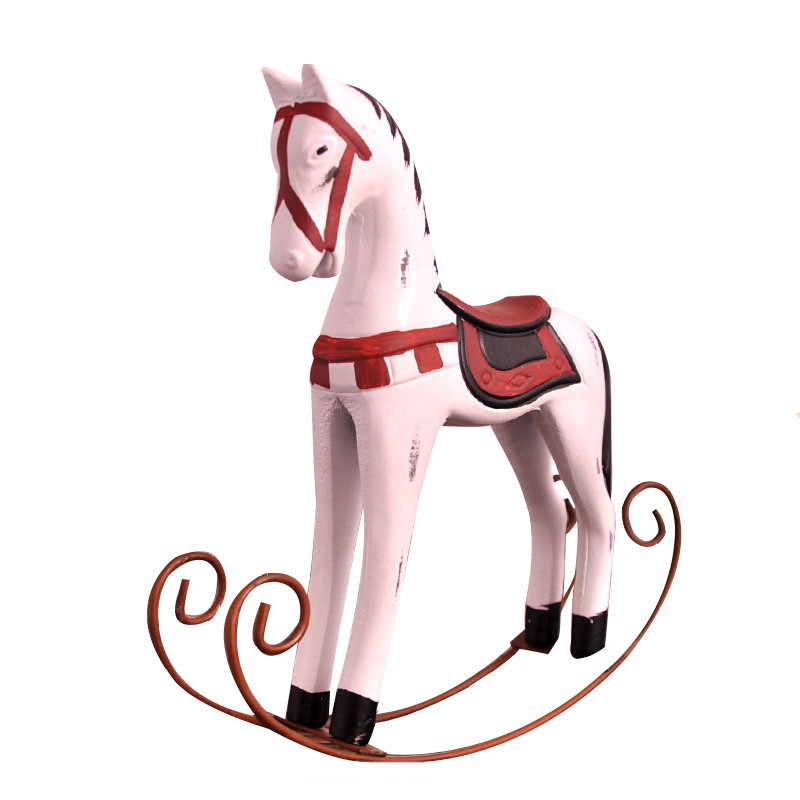 Statues Figurine Zakka Groceries Nordic Wooden Rocking Horse Ornaments Retro Old Hand-Painted Decorative Home Entrance Crafts