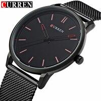 Top Luxury Brand CURREN Watches Men Stainless Steel Mesh Strap Quartz Watch Ultra Thin Dial Clock