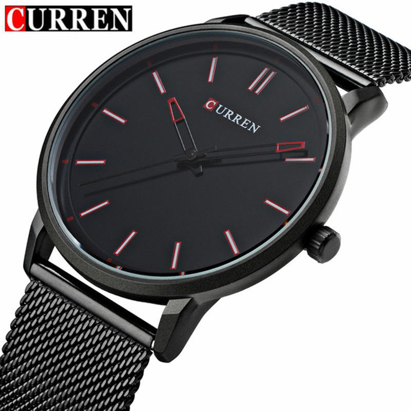 Top lujo marca Curren relojes hombres de acero inoxidable malla Correa reloj de cuarzo ultra delgado reloj hombre Relogio Masculino 8233