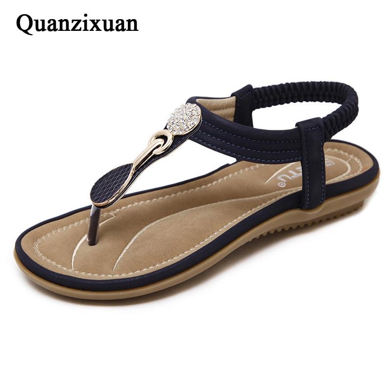 Quanzixuan Summer Women Sandals RhineStone Behomia Sandals Casual Flat Sandals Flip Flops Gladiator Ladies Shoes