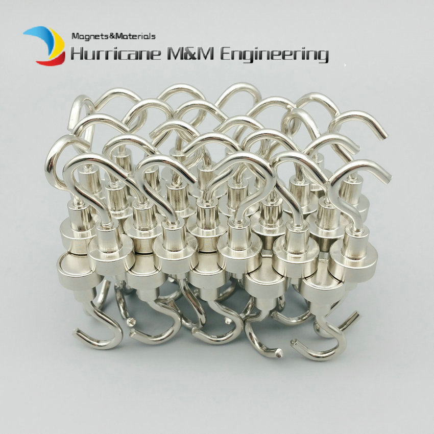 1 pack Mounting Magnet Diameter 12mm Clamping Pot Magnet Upgraded Steel Hook Neodymium Lifting Magnet Strong LED Holding Magnet 4 7 5mm neodymium nib magnet spheres with steel case silver 216 piece pack