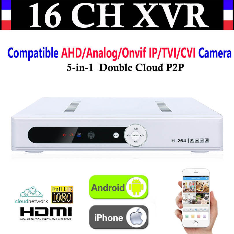 New CCTV 16CH Channel 1080P NVR AHD TVI CVI DVR+1080N 5-in-1 Video Recorder Compatibile AHD/Analog/Onvif IP/TVI/CVI Camera voxlink ahd tvi cvi video converter full hd 1080p tvi cvi ahd signal to cvbs vga hdmi hd video converter for cctv cameras