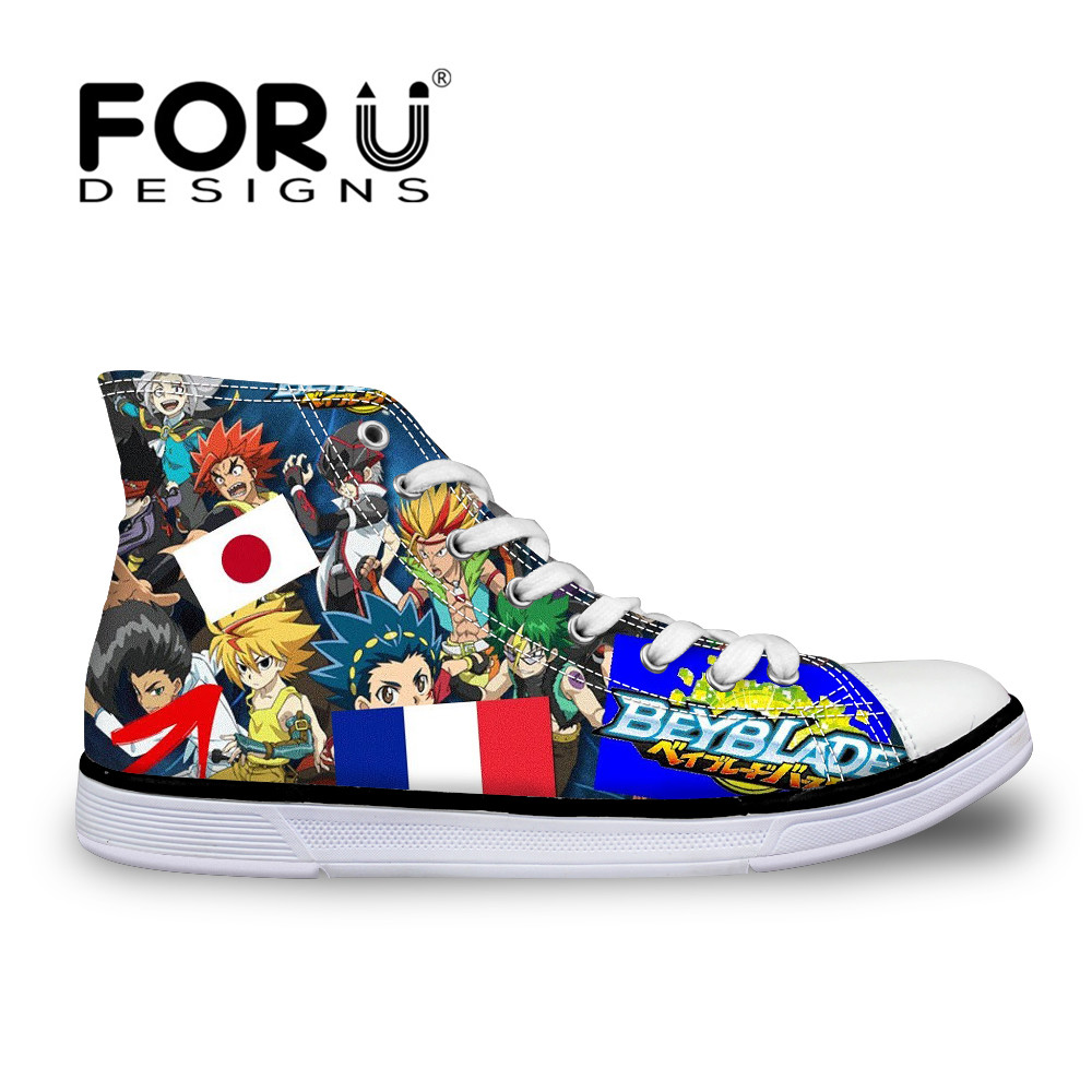 FORUDESIGNS Women's Sneakers Shoes Woman 3D Anime Beyblade Burst Evolution High Top Vulcanize Shoes for Teen Girls Canvas Flats