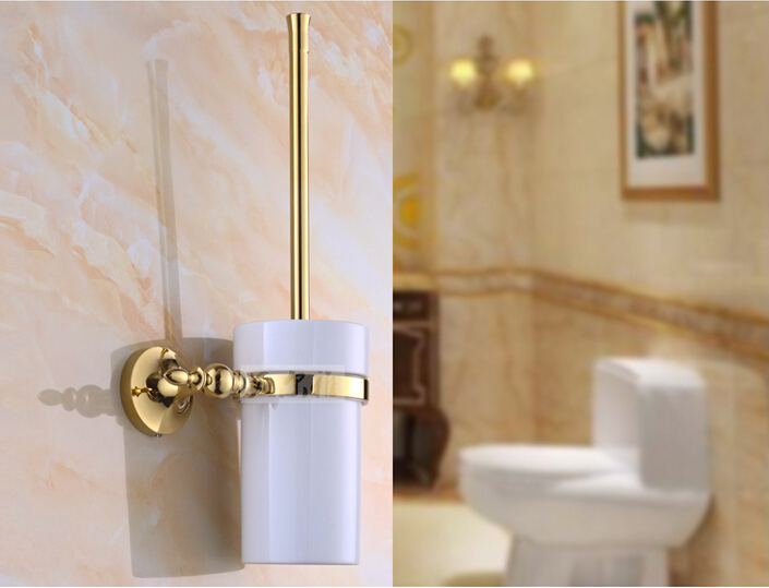 Wall Mounted Toilet Brush Holder Set Gold Finish Toilet Brush + Ceramic Cup + Bar antique copper toilet brush holder ceramic solid brass bathroom toilet brush cup holder rack bathroom brush shelf