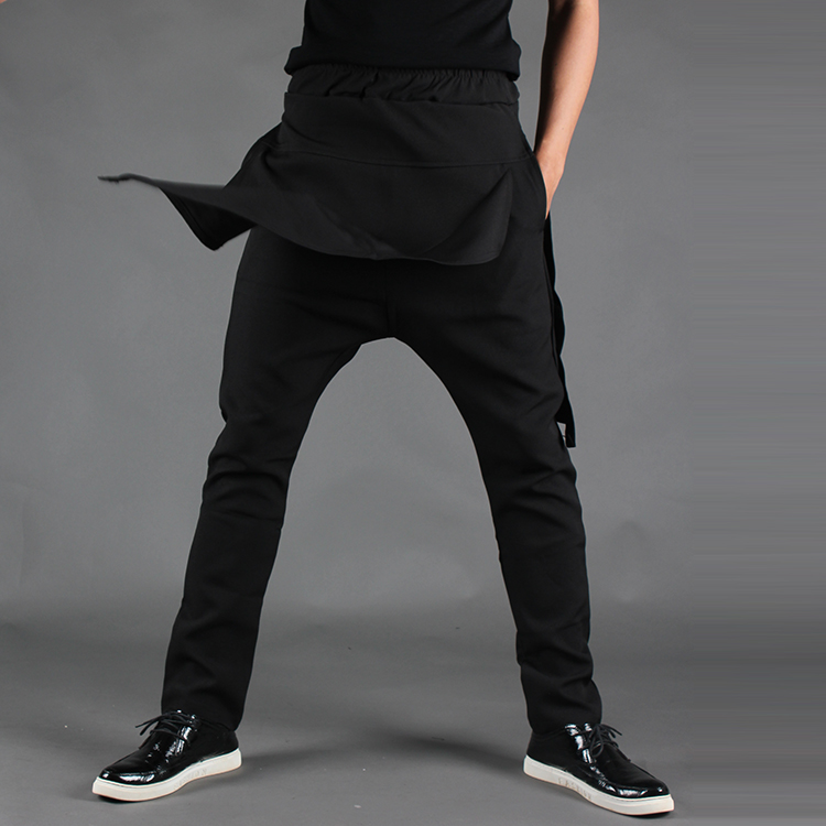 Spring and summer male trousers xiebian personalized asymmetrical culottes loose harem pants male pants black