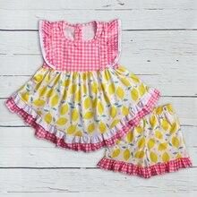 أحدث نمط طفل الفتيات مجموعة ملابس الليمون أكمام اللباس مع الكشكشة السراويل بوتيك الاطفال الصيف مجموعات 2GK904 1200 HY
