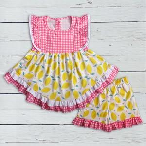 Image 1 - أحدث نمط طفل الفتيات مجموعة ملابس الليمون أكمام اللباس مع الكشكشة السراويل بوتيك الاطفال الصيف مجموعات 2GK904 1200 HY