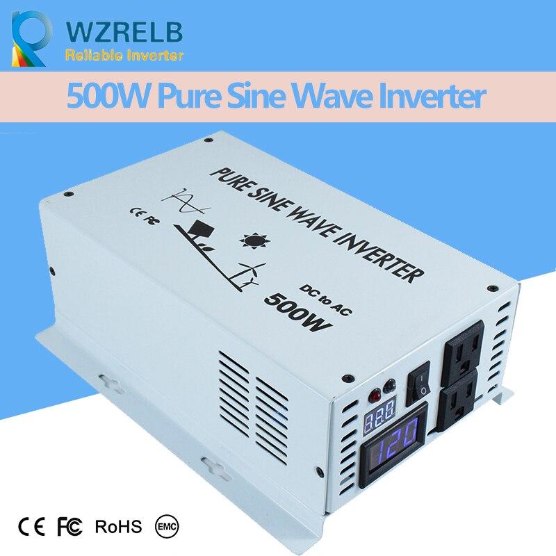 Reliable Inverter 500W Pure Sine Wave Inverter with Charger 12V 24V 48v DC to AC 220V 230V 240v Solar Power Inverter 30%OFF