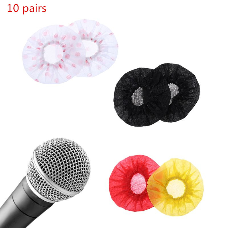 10Pairs Disposable Non-woven Microphone Cover Removal Windscreen Protective Mic Cap Pad For KTV Karaoke Supplies