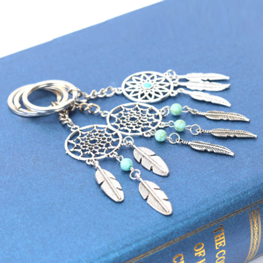 1PC Fashion Dream Catcher Key Chain Silver Tone Ring Feather Tassels Pendant Keyring Keychain for Gift