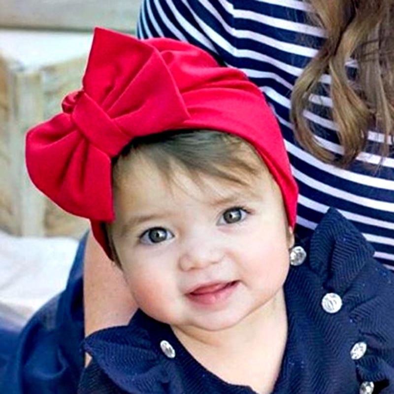 MIXIU 1pcs Solid Cotton Big Bow Baby Hat Kids Baby Headbands Soft Comfortable Newborn Baby Turban Children Hair Accessories