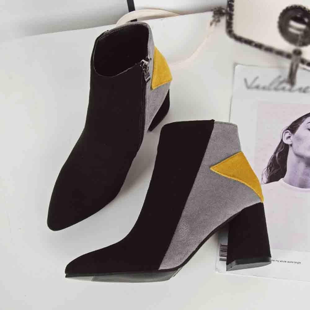 Botas Mezclados Toe Para Mujer Las Chalecos amarillo Mujeres De Rojo Moda Tobillo Invierno Señaló Casuales Colores Agradable Zapatos fY5nzWxSwq