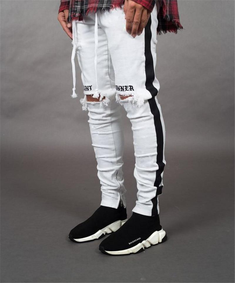 BDLJ мужские стильные рваные джинсы, байкерские обтягивающие прямые потертые джинсовые брюки, модные обтягивающие джинсы, мужская одежда AB03 - Цвет: White