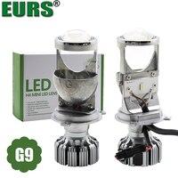 EURS New design 2PCS LED Car Headlights H4 led Lens mini G9 Car Led Lamp Lighting Replacement Bulbs Auto headlamp hi/lo beam