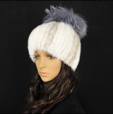 Women new fur hats for winter genuine mink fur cap with silver fox fur pom poms