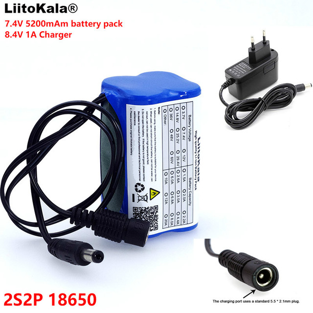 LiitoKala Protect 7.4 V 5200 mAh  8.4 V 18650 Li lon Battery Bike lights Head lamp special DC 5.5MM + 1A Charger