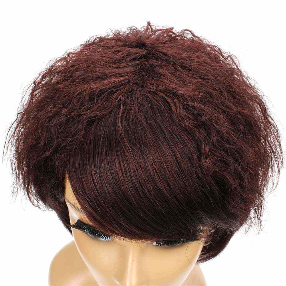 Salonchat Short Jerry Curl Wig Human Hair Wigs With Straight Bangs Remy 100% Human Hair Extension Brazilian Afro Kinky Curly Wig