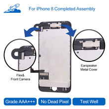 Elekworld Grade For iPhone 8 LCD Display Touch Screen Digitizer Full Assembly With Frame   Front Camera Ear-speaker Back Plate
