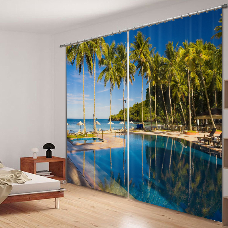Home Textile Summer Seaside Pool Curtains 3d Photo Printing Blackout For Window Living Room Bedding Room Hote Office Sofa Decoration Online Shop