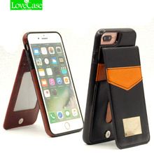 For iphone 7 Vertical Flip Card Holder Leather Case For iPhone 7 Plus 7Plus Brand Retro Cover Phone Bag Case 4.7″ 5.5″ back case
