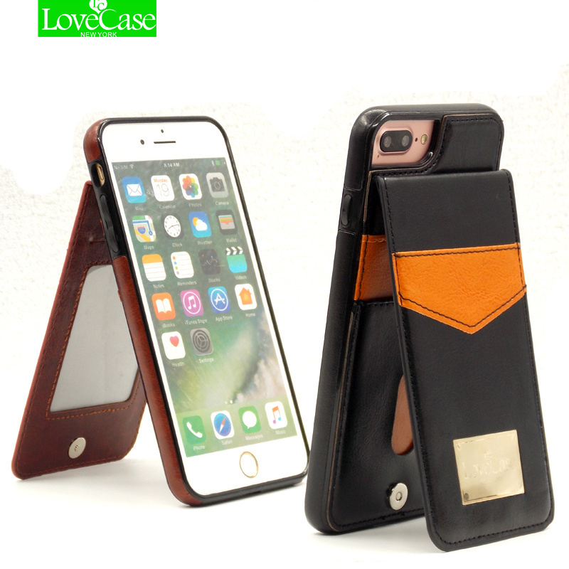 For iphone X 8 7 Vertical Flip Card Holder Leather Case For iPhone 7 Plus 7Plus 8Plus Brand Retro Cover Phone Bag Case bag case