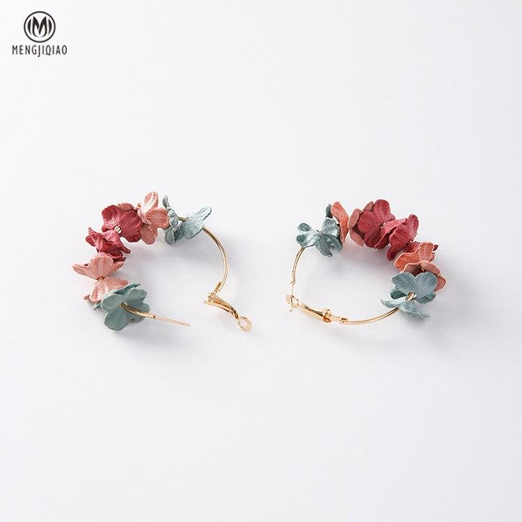 2017 Elegant Fabric Flower Drop Earrings Bijoux Sweety Colourful Petal Alloy Ear Circle Big Earrings Charm Brinco For Women