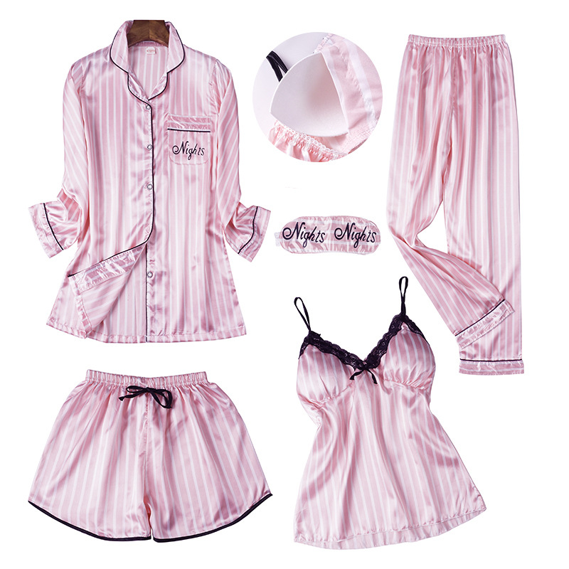 Spring Summer Women Long Sleeve Print   Pajamas     Sets   with Pants Sexy Spaghetti Strap Pigama 5 Pieces Homewear with Chest Pads