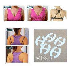 5 Clips Non-slip Buckle Hide Converter Women's Push Up Cleavage Control Invisible Bra Strap Belt Clip Buckle Wholesale