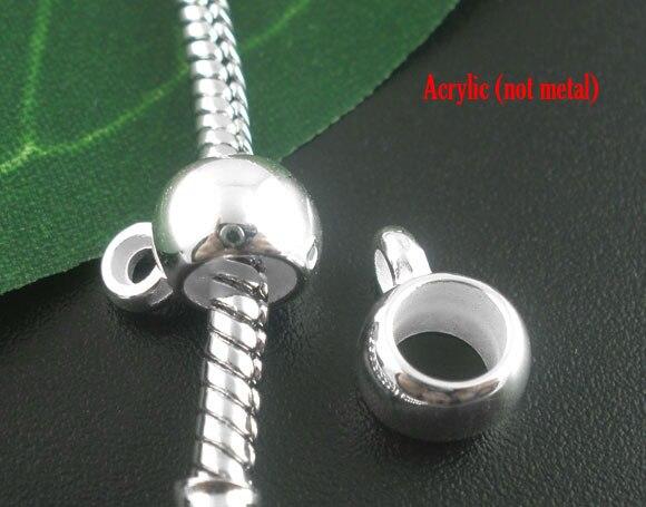 все цены на DoreenBeads 50PCs Silver Plated Acrylic Smooth Cup European Charm Bails Beads 11x8mm