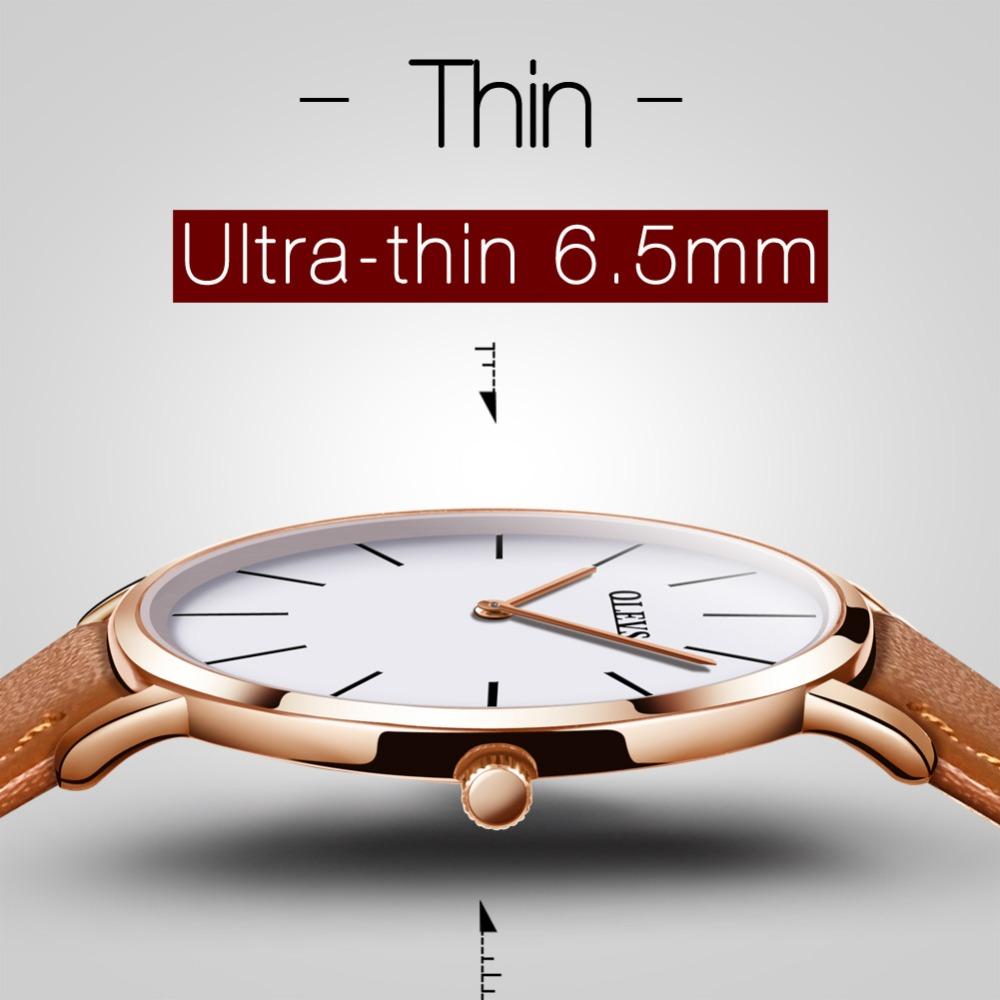 23b9f169a28 2018 homens Relógios de luxo da marca Olevs quartzo cinta Ultrafino  minimalista de couro Preto relógios de Pulso À Prova D  Água de Alta  Qualidade Relogio