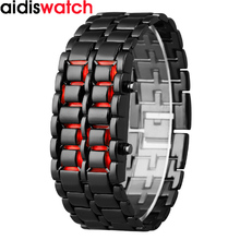 Waterproof Electronic Second Generation Binary  LED Watches Mens Wristwatch Lava Clock Hours Red-light  lady Blue  Light