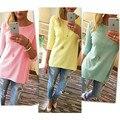 Camisa de T Das Mulheres 2017 Nova Moda Cor Sólida de Algodão Túnica Tees O Pescoço Meia Manga Túnica Camisetas Soltas Casual Blusas de Jumper
