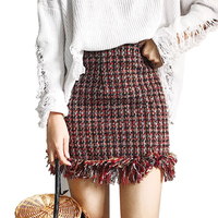 Wsfs Winter Autumn Red Black Plaid Woollen Skirt Women Elegant Tweed Skirts Tassel Bandage England Mini