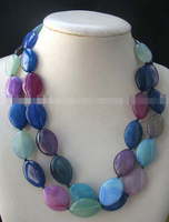 FREE SHIPPING>>>@@ AS3053 2rows jade horse multicolor necklace 19.5 nature
