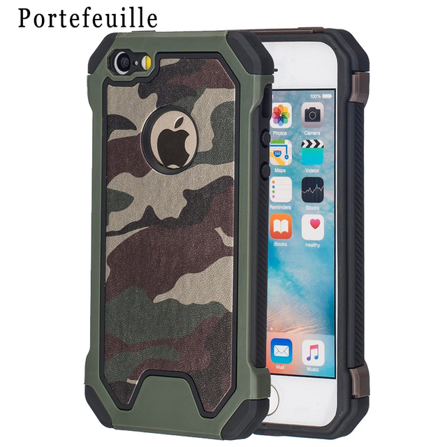 best sneakers 6b774 9d61b US $4.54 9% OFF|Portefeuille For Apple iPhone 6 6S Camouflage Defender Case  Hard Soft Silicone Cover For iPhone 7 Plus 5 5S SE Coque Accessories-in ...