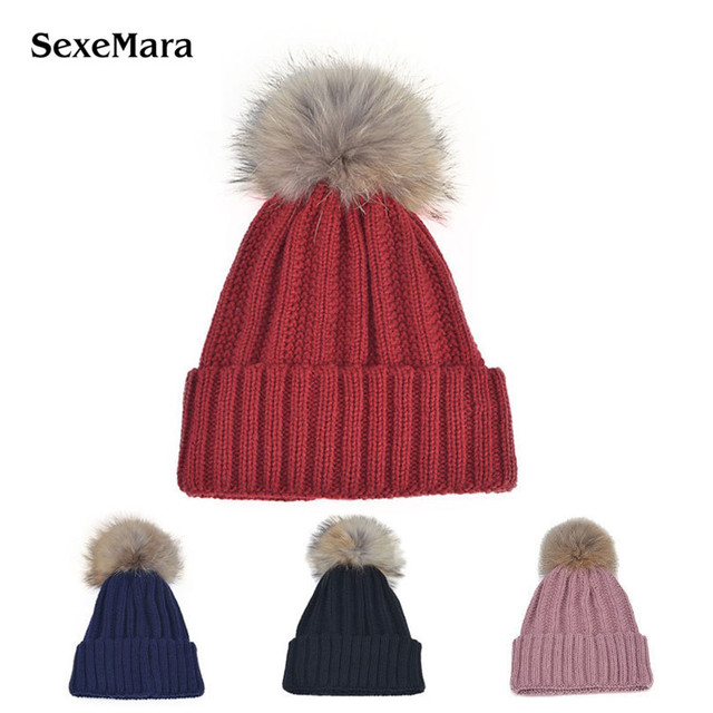 Fashion Design Winter Hats Women Thick Knitted Beanies Ladies Pom Poms Female Caps Warm Outdoor Snow Fur Hat ZM08