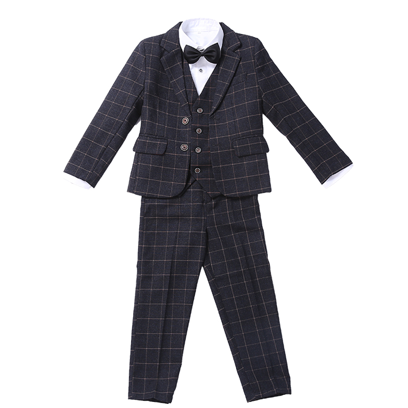 High quality fashion baby kids blazers suit for prom daily Casual Single Breasted boy's suit flower cool boy Casual Set 5pcs single breasted knot blouse